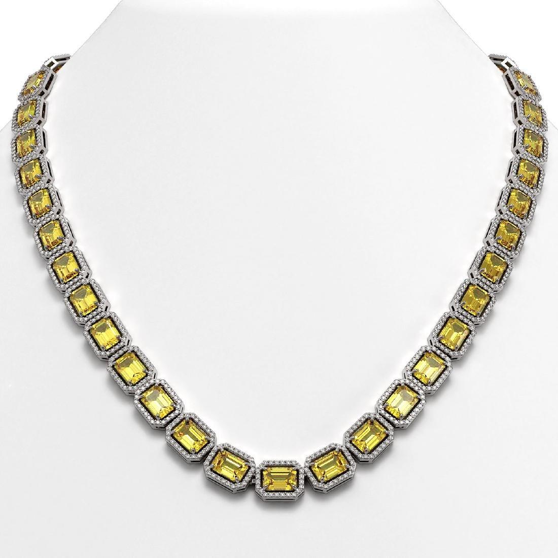 52.94 CTW Fancy Citrine & Diamond Halo Necklace 10K