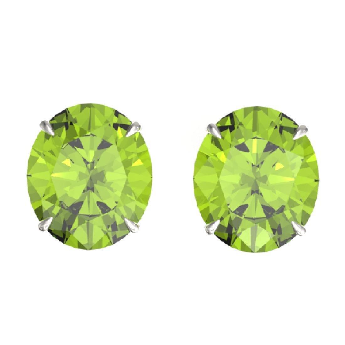 18 CTW Peridot Designer Solitaire Stud Earrings 18K