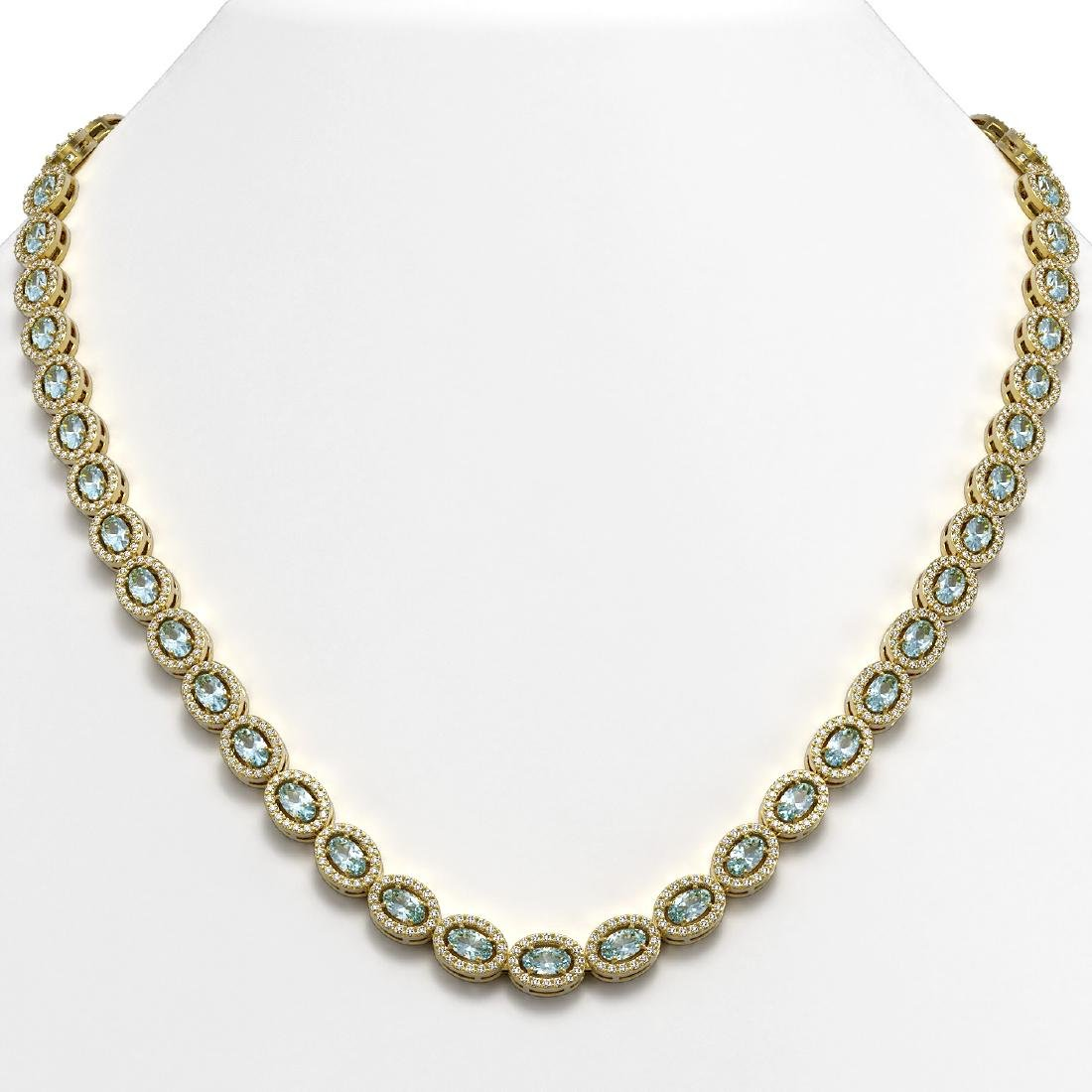 20.71 CTW Aquamarine & Diamond Halo Necklace 10K Yellow