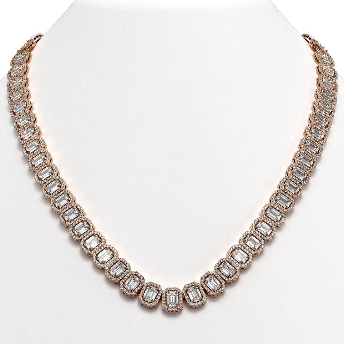 40.3 CTW Emerald Cut Diamond Designer Necklace 18K Rose