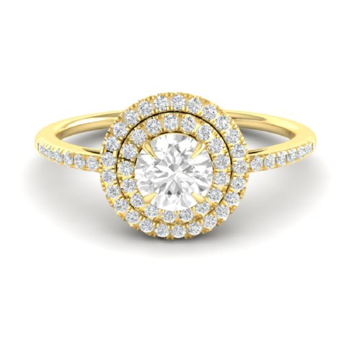 1 CTW Micro Pave VS/SI Diamond Solitaire Ring Halo 18K