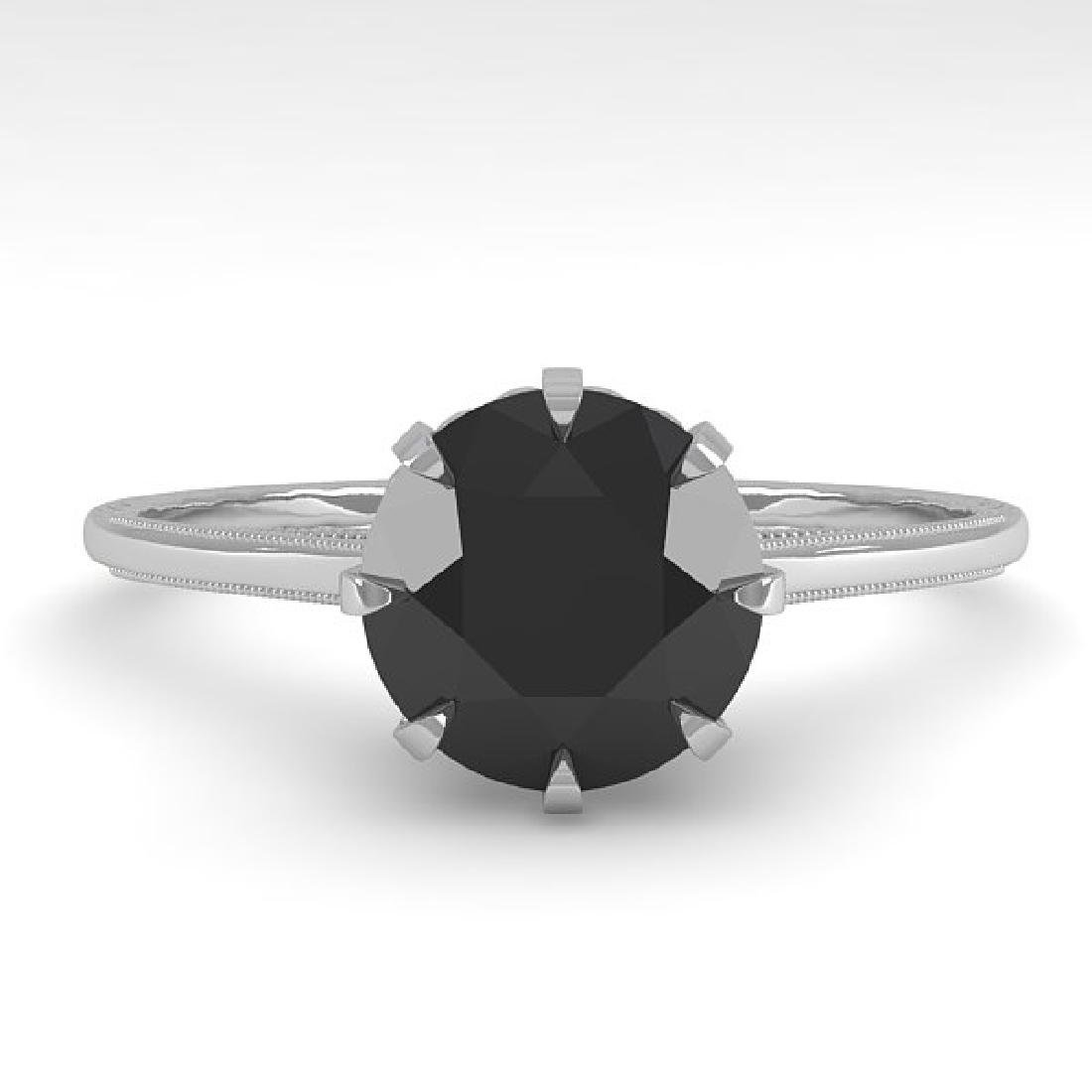 1.50 CTW Black Certified Diamond Solitaire 14K White