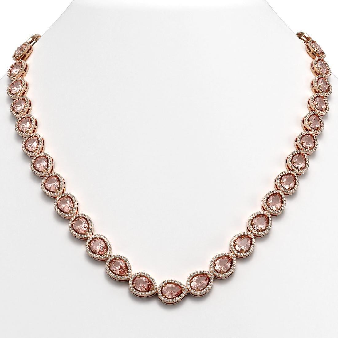 35.13 CTW Morganite & Diamond Halo Necklace 10K Rose