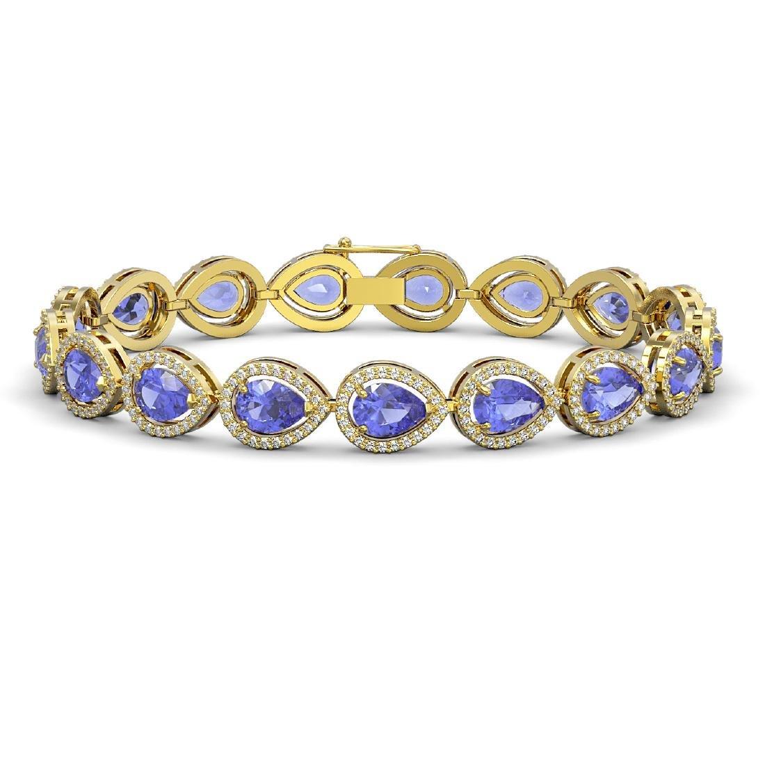 19.14 CTW Tanzanite & Diamond Halo Bracelet 10K Yellow
