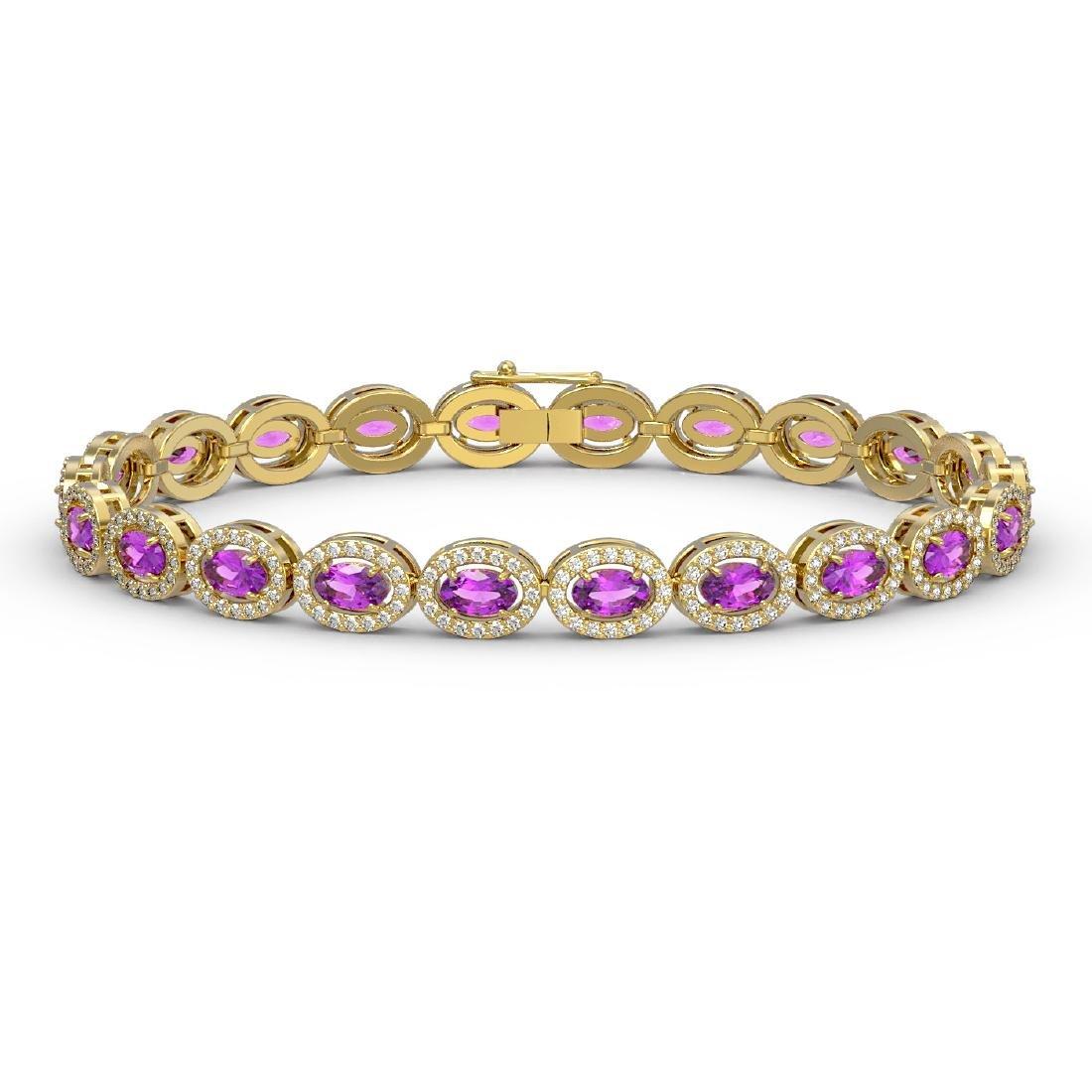 10.05 CTW Amethyst & Diamond Halo Bracelet 10K Yellow