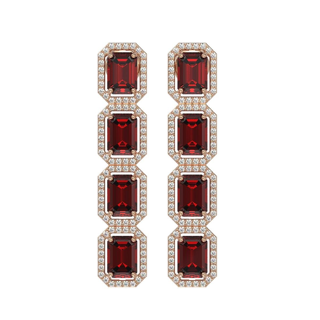 12.73 CTW Garnet & Diamond Halo Earrings 10K Rose Gold