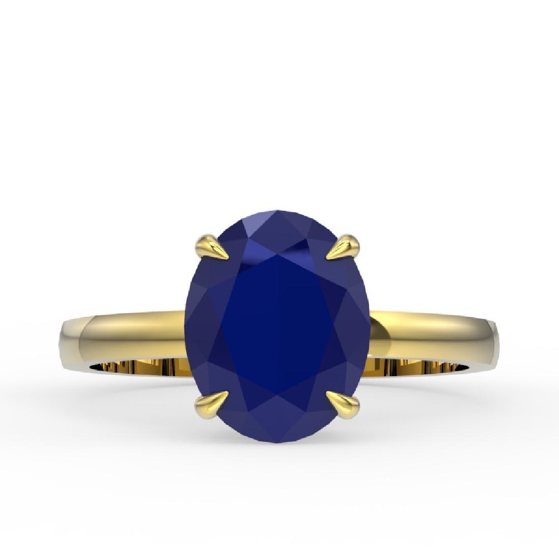 3.50 CTW Sapphire Designer Inspired Solitaire Ring 18K