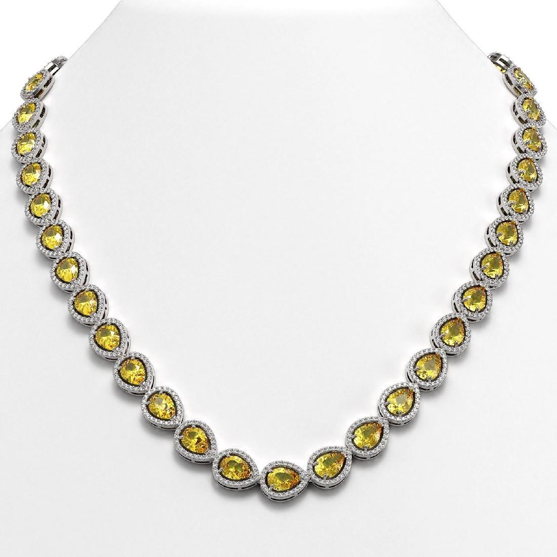 33.35 CTW Fancy Citrine & Diamond Halo Necklace 10K
