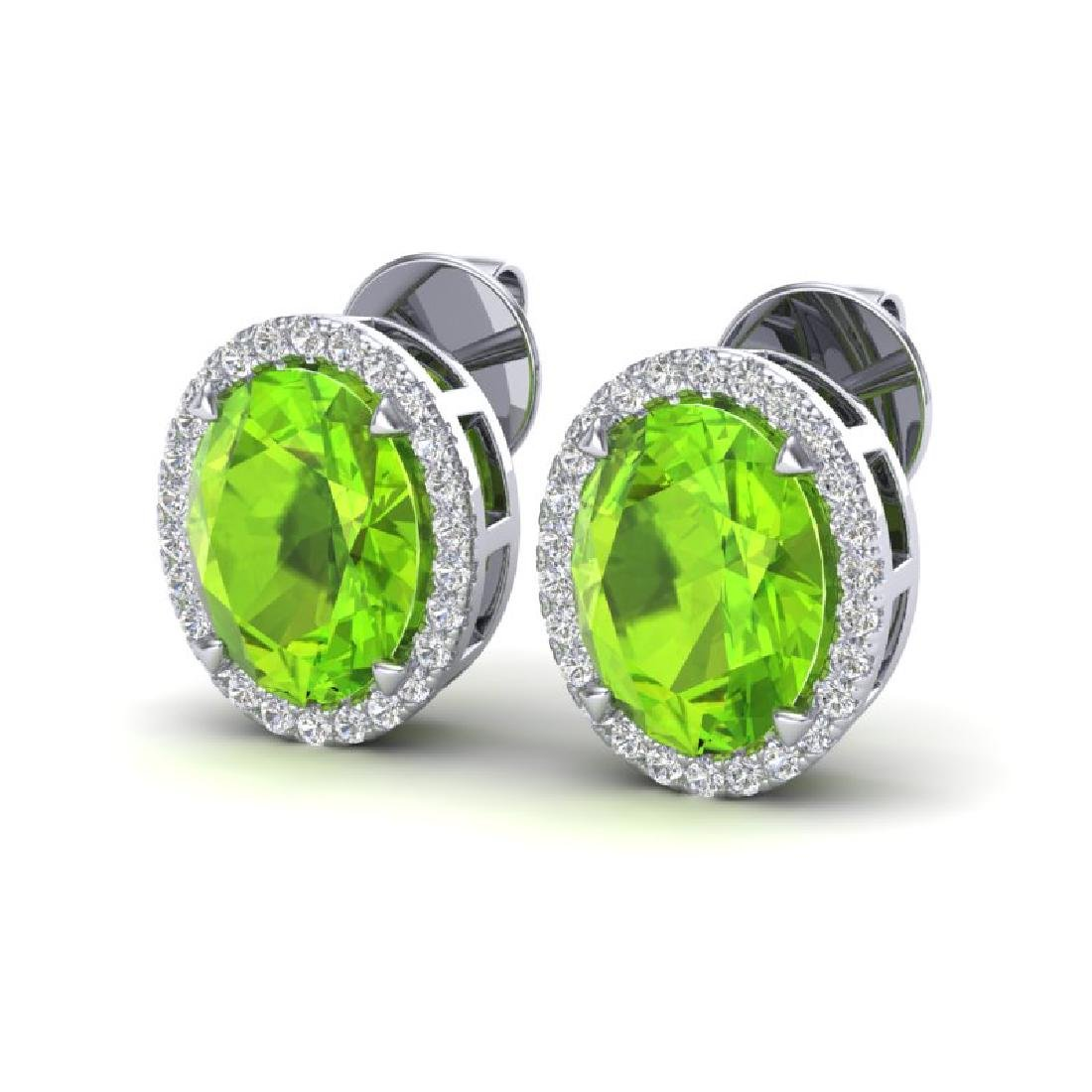 5.50 CTW Peridot & Micro VS/SI Diamond Halo Earrings