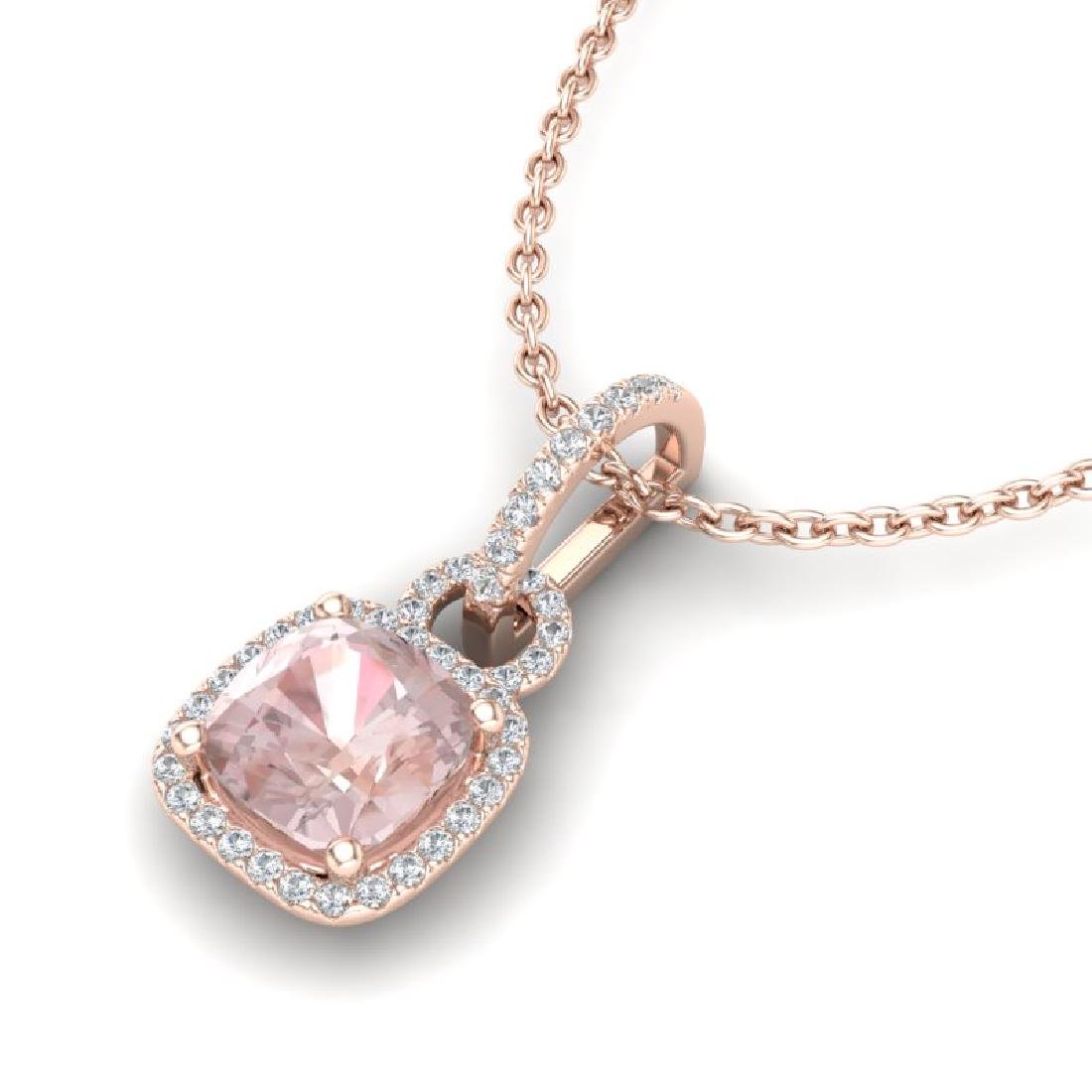 2.75 CTW Morganite & Micro VS/SI Diamond Halo Necklace