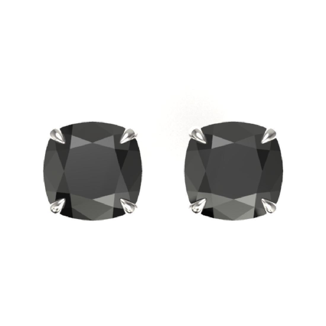 6 CTW Cushion Cut Black VS/SI Diamond Designer Stud