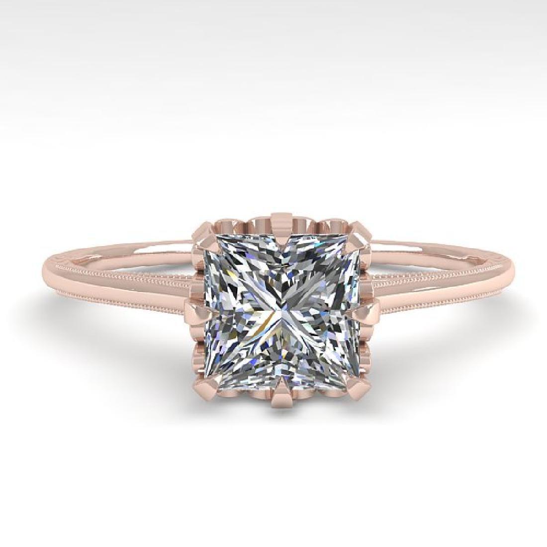 1.0 CTW VS/SI Princess Diamond Solitaire Ring 14K Rose