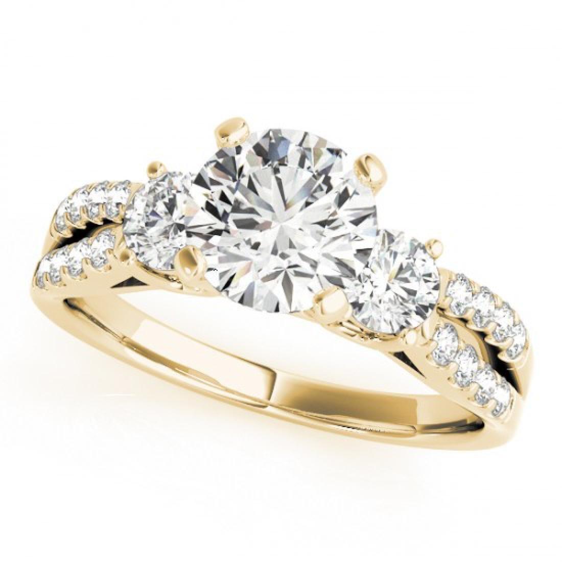 1.5 CTW Certified VS/SI Diamond 3 Stone Ring 14K Yellow