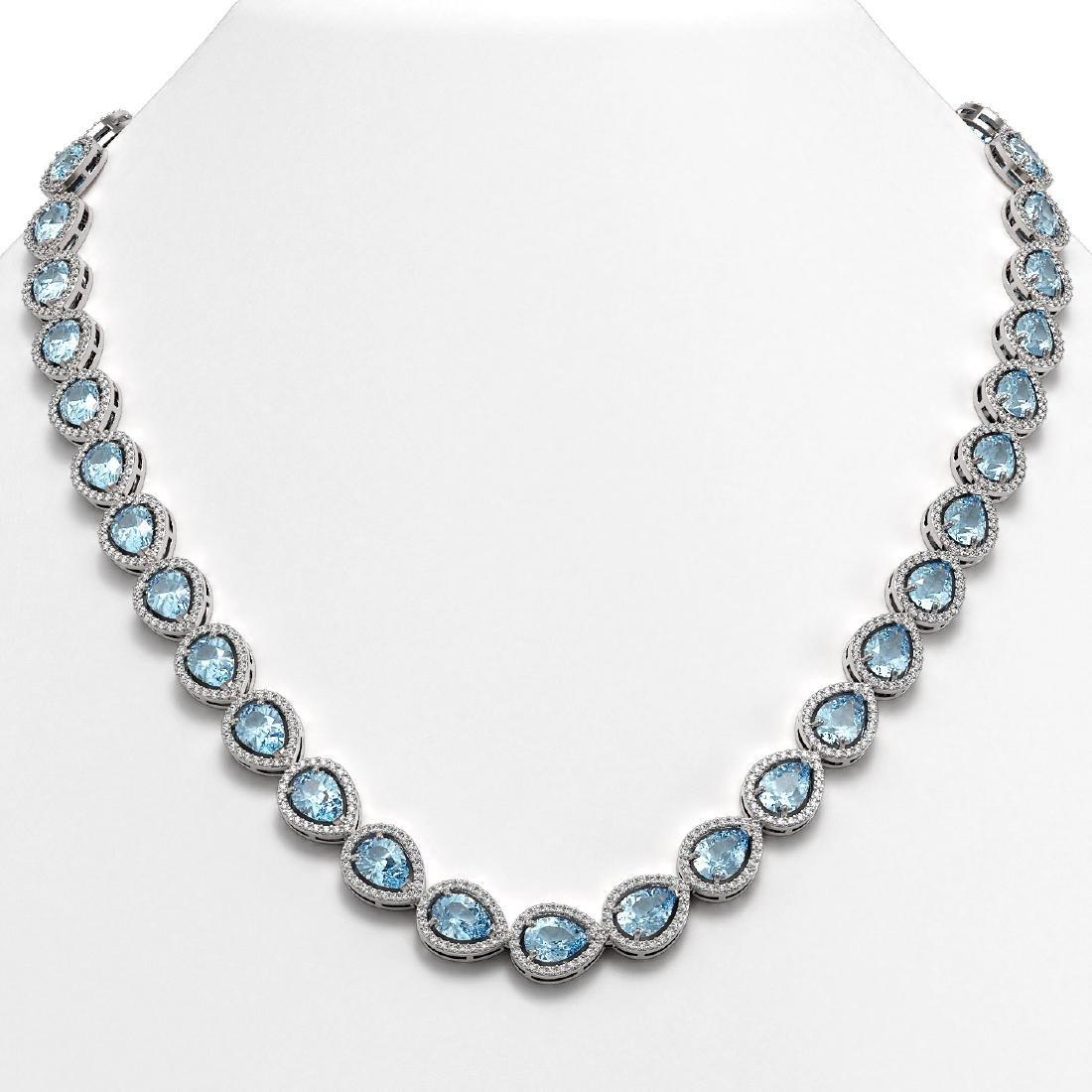 33.35 CTW Aquamarine & Diamond Halo Necklace 10K White