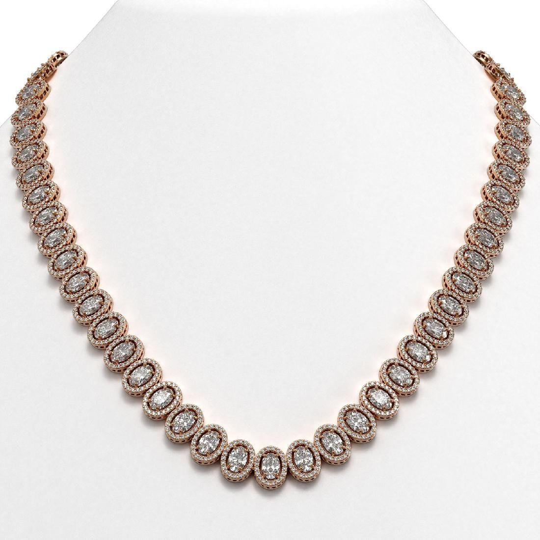 34.72 CTW Oval Diamond Designer Necklace 18K Rose Gold
