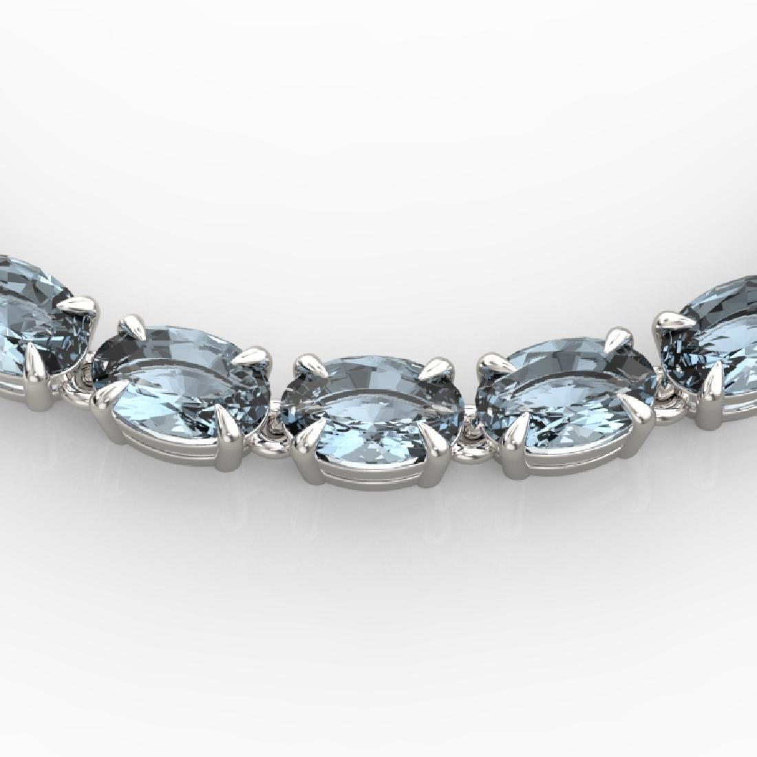 29 CTW Aquamarine Eternity Tennis Necklace 14K White