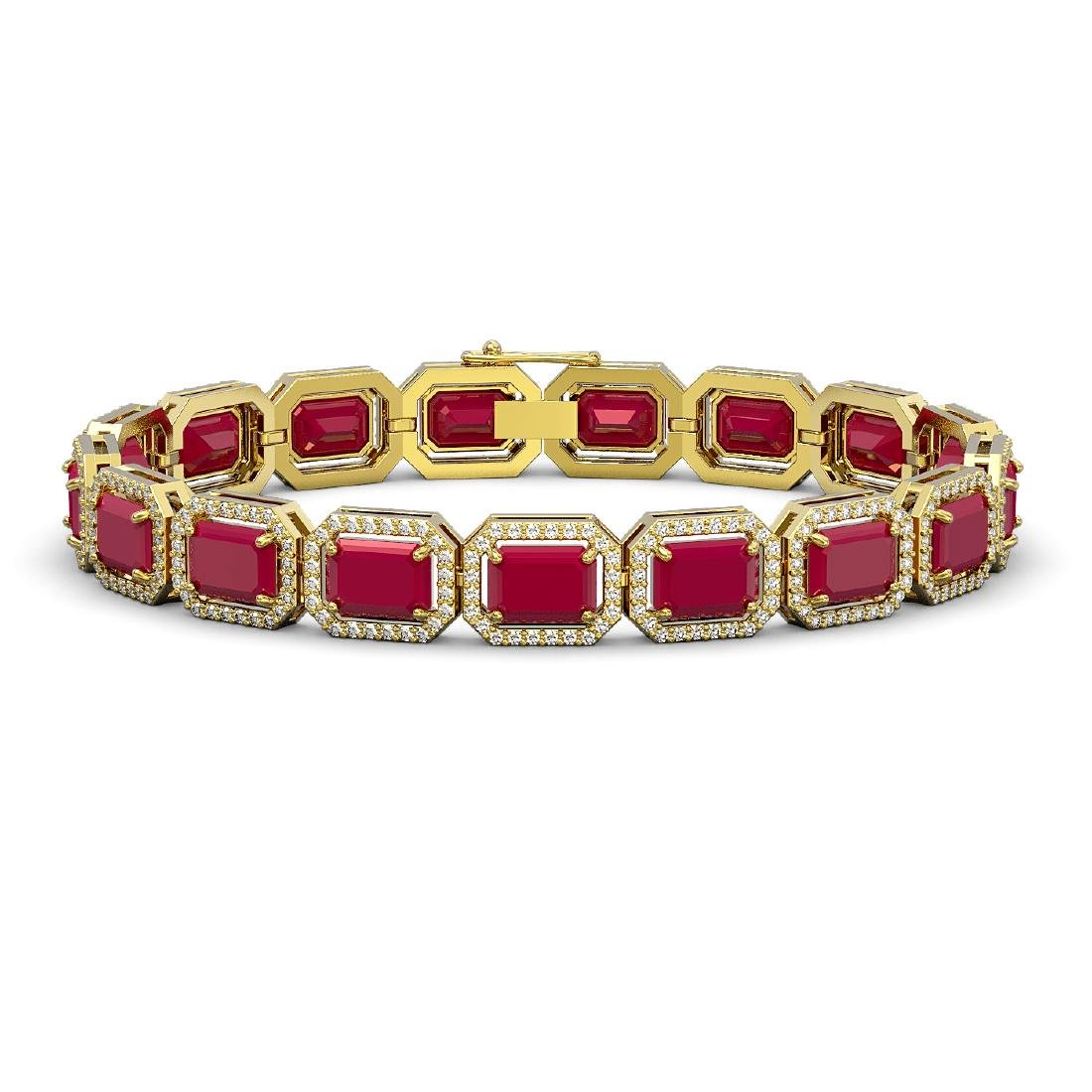 26.21 CTW Ruby & Diamond Halo Bracelet 10K Yellow Gold