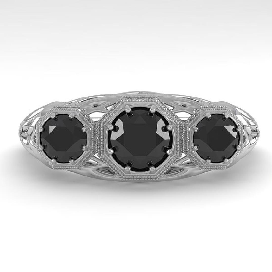1.00 CTW Black Diamond Art Deco Ring 14K White Gold