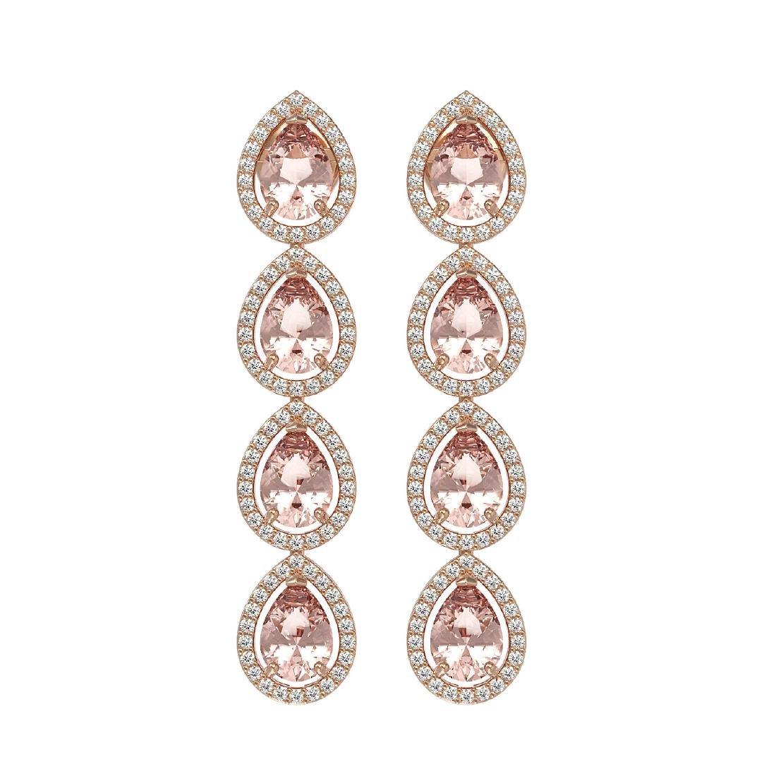 7.8 CTW Morganite & Diamond Halo Earrings 10K Rose Gold