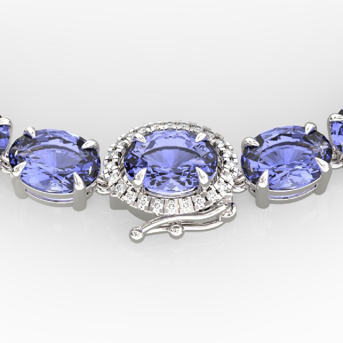 80 CTW Tanzanite & VS/SI Diamond Eternity Micro Halo