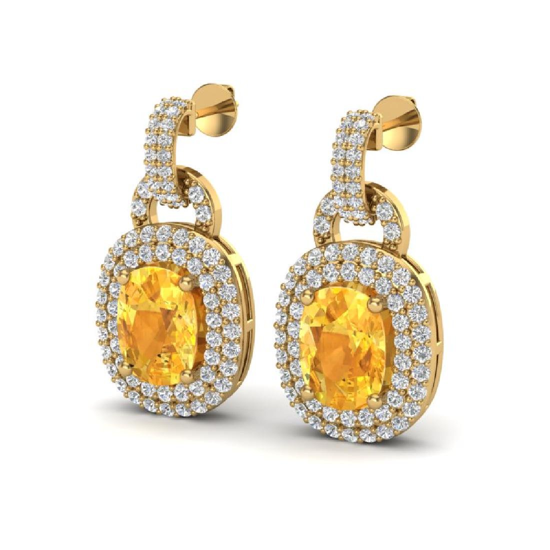 5 CTW Citrine And Micro VS/SI Diamond Pave Earrings