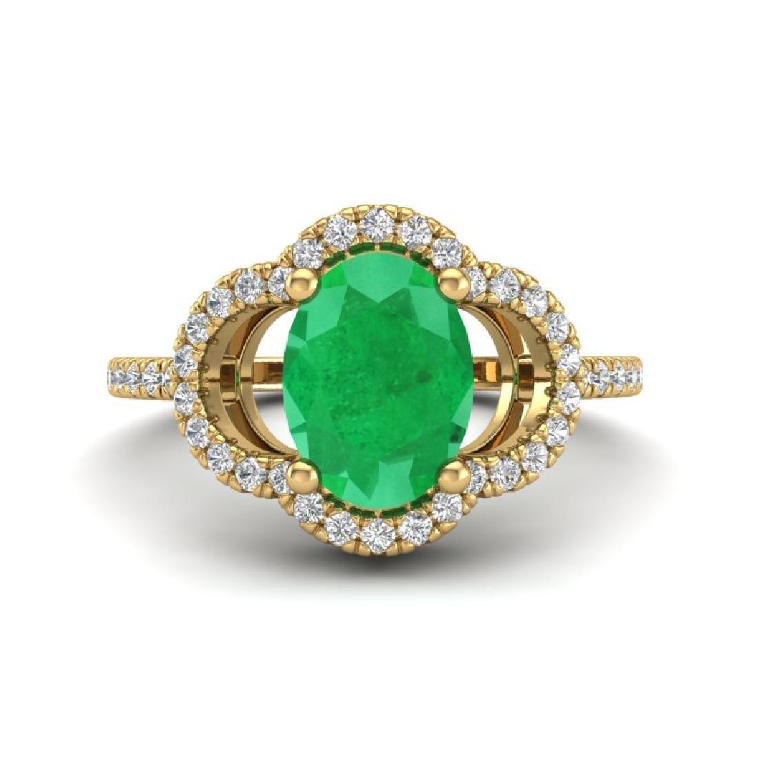 2 CTW Emerald & Micro Pave VS/SI Diamond Ring 10K