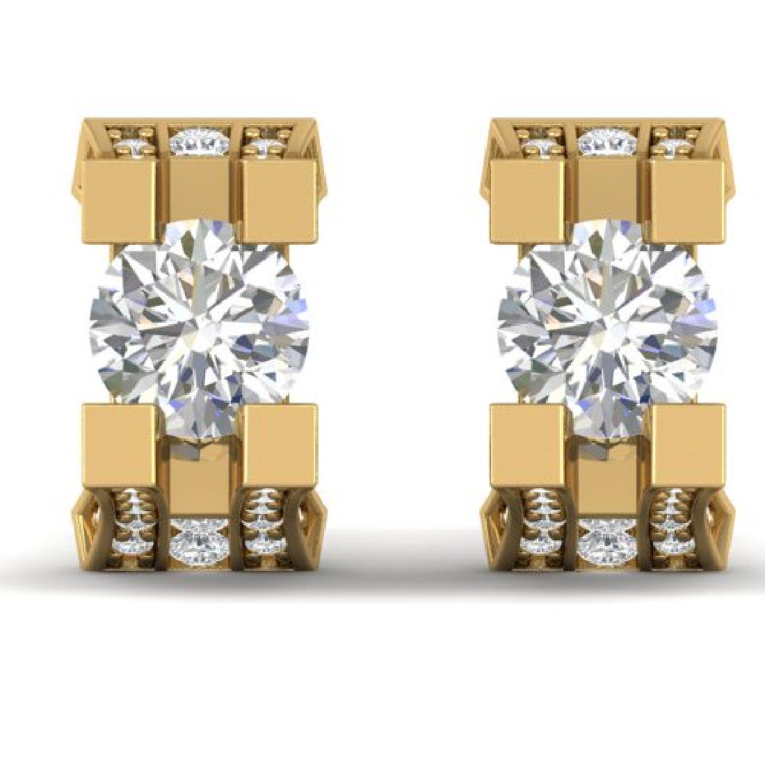 2.25 CTW I-SI Diamond Solitaire Art Deco Stud Micro