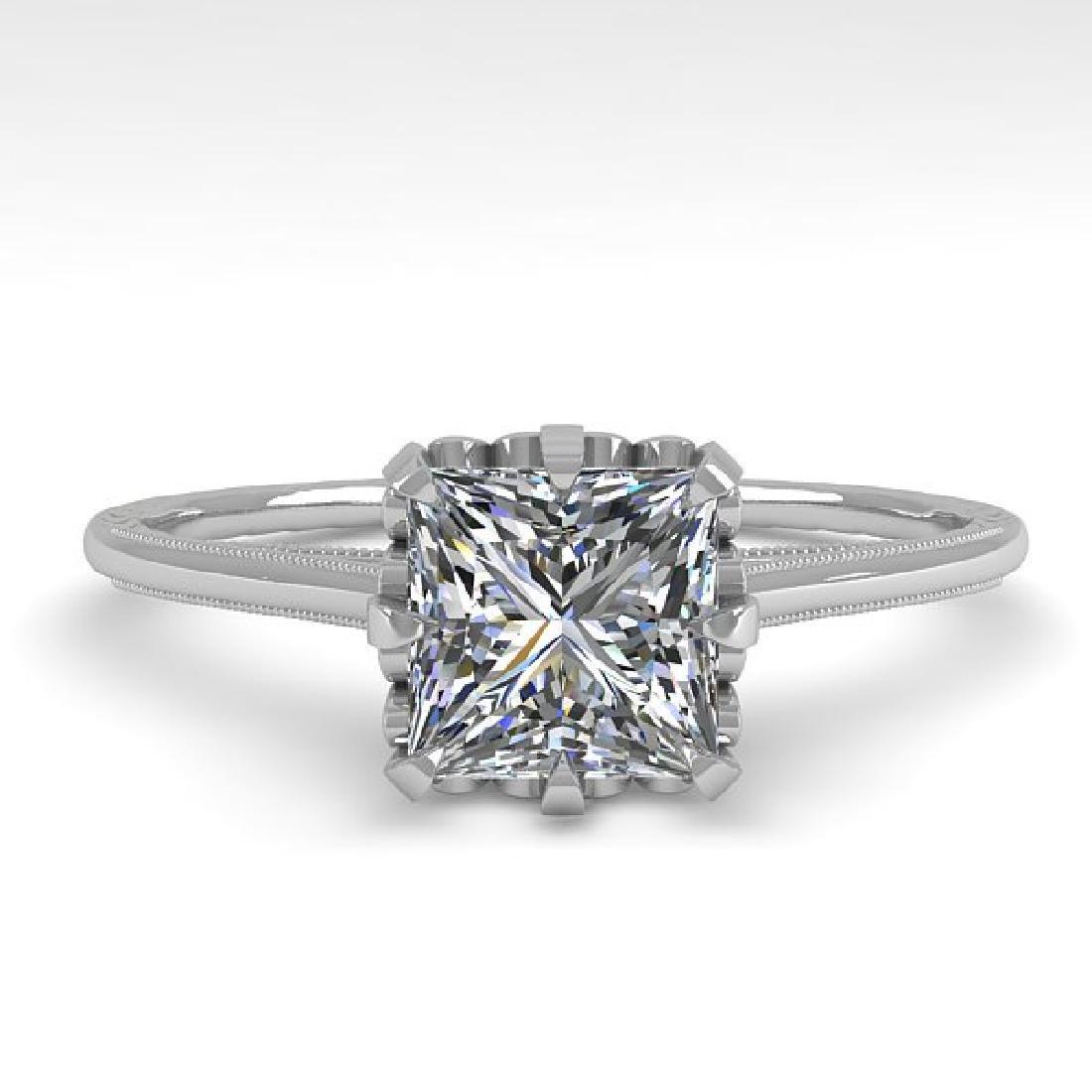 1.0 CTW VS/SI Princess Diamond Solitaire Ring 14K White