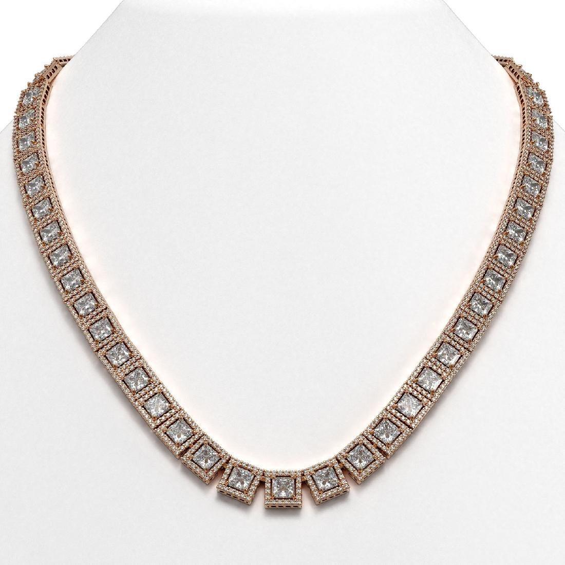 36.30 CTW Princess Diamond Designer Necklace 18K Rose