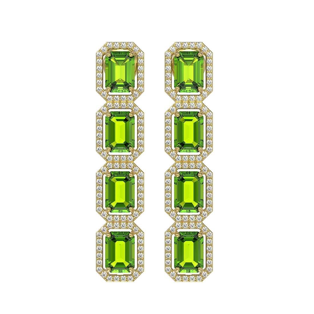 11.98 CTW Peridot & Diamond Halo Earrings 10K Yellow
