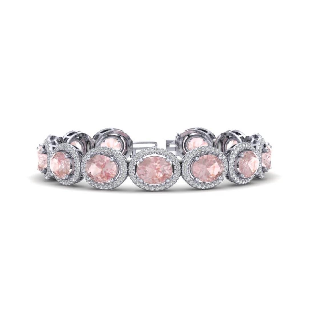 23 CTW Morganite & Micro Pave VS/SI Diamond Bracelet