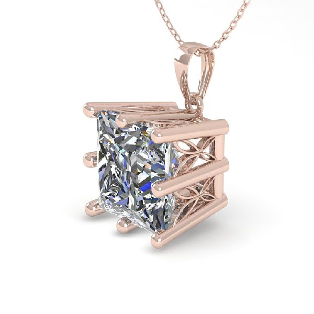 1 CTW VS/SI Princess Diamond Art Deco Necklace 14K Rose
