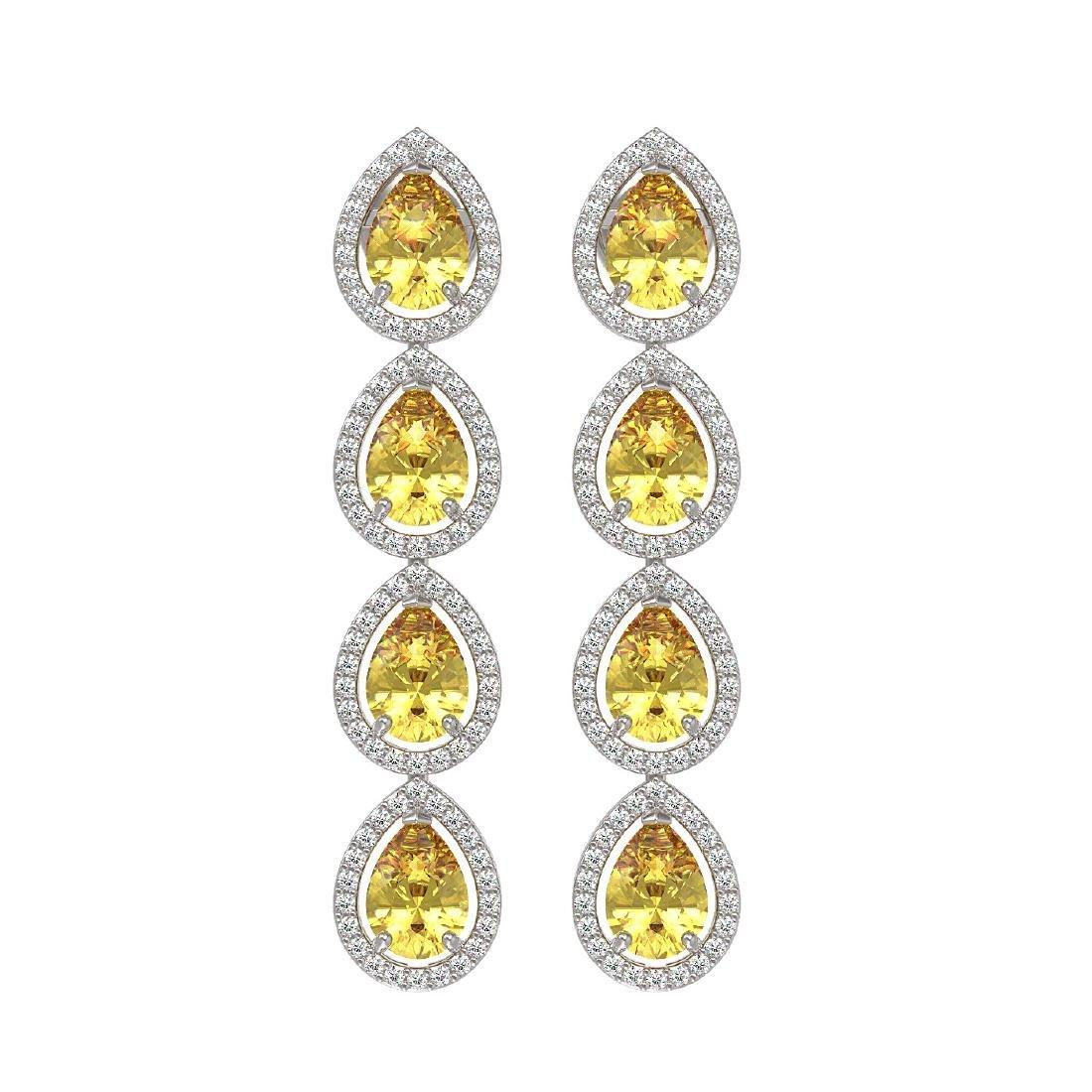 7.48 CTW Fancy Citrine & Diamond Halo Earrings 10K