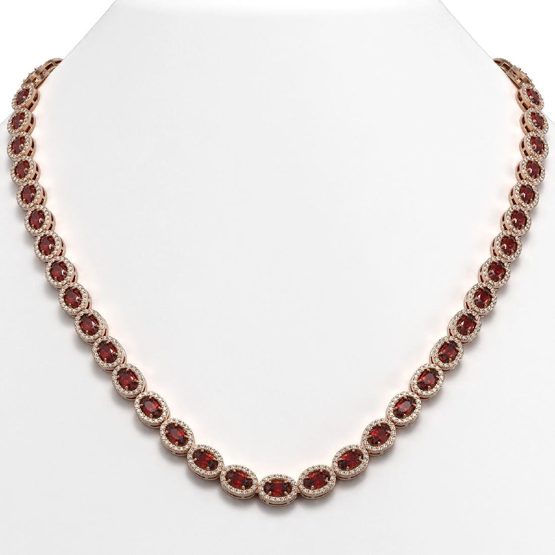21.04 CTW Garnet & Diamond Halo Necklace 10K Rose Gold