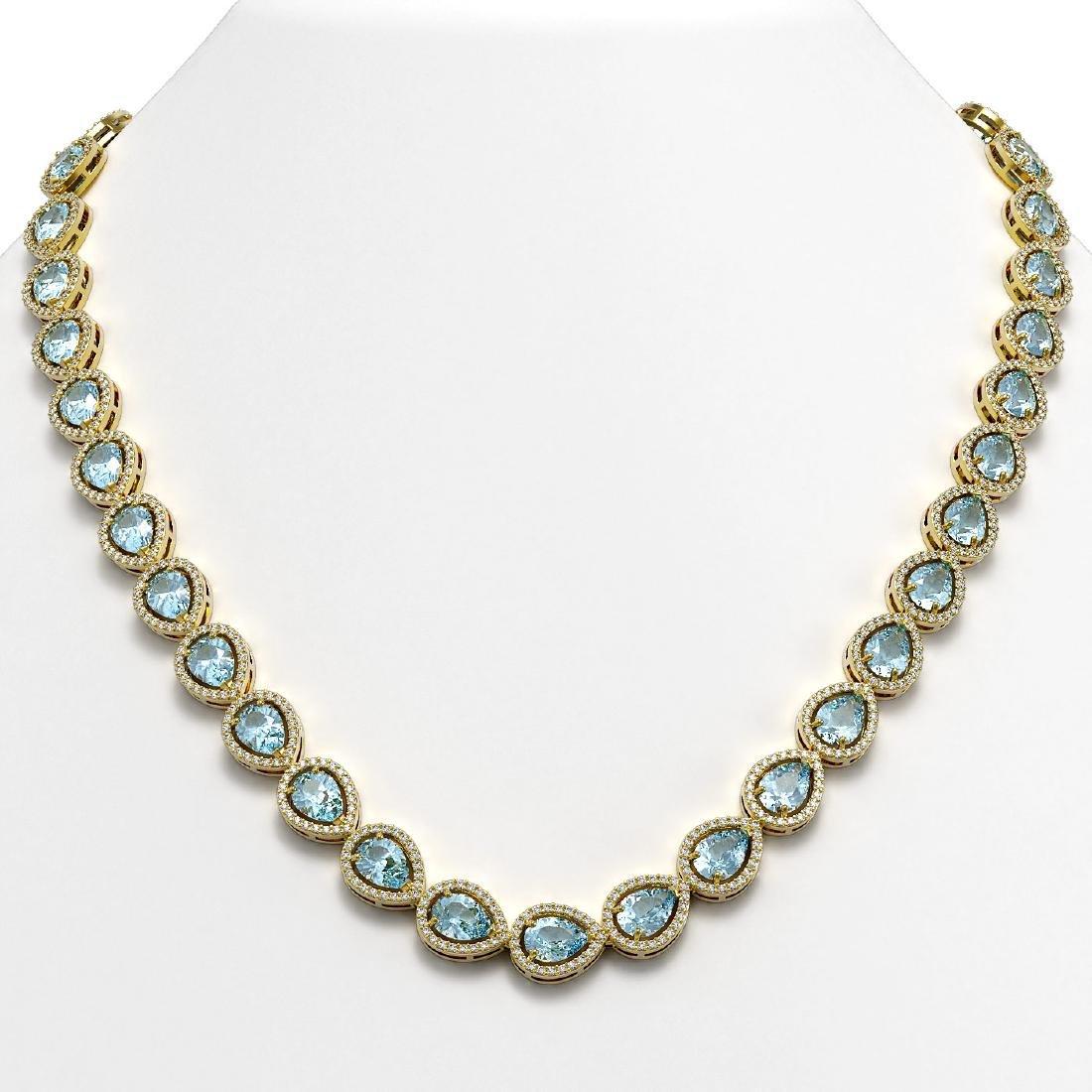 33.35 CTW Aquamarine & Diamond Halo Necklace 10K Yellow