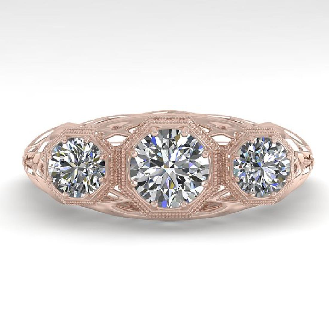 1.00 CTW VS/SI Diamond Art Deco Ring 14K Rose Gold