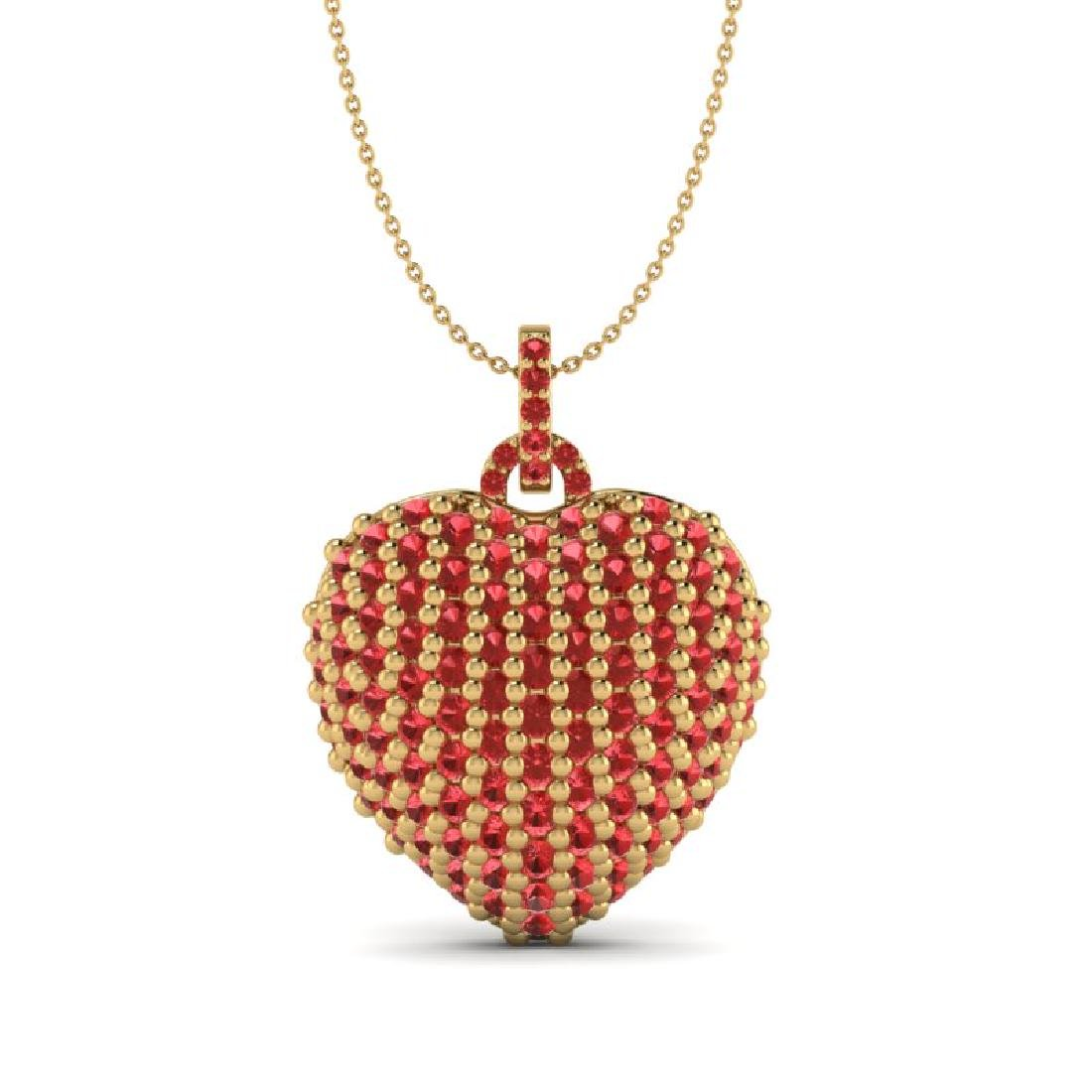 5 CTW Micro Pave Red Sapphire Designer Heart Necklace