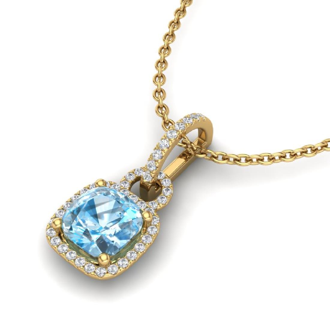 3.50 CTW Topaz & Micro VS/SI Diamond Necklace 18K