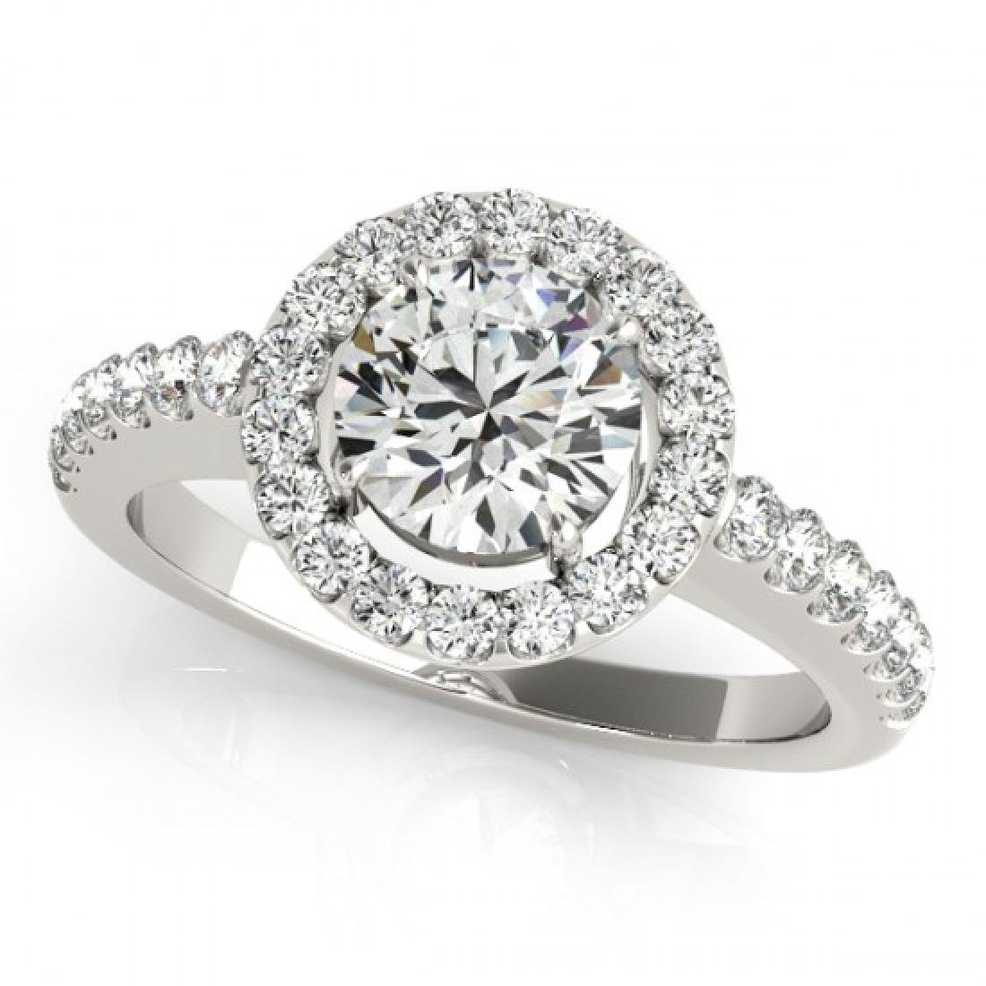 0.76 CTW Certified VS/SI Diamond Solitaire Halo Ring