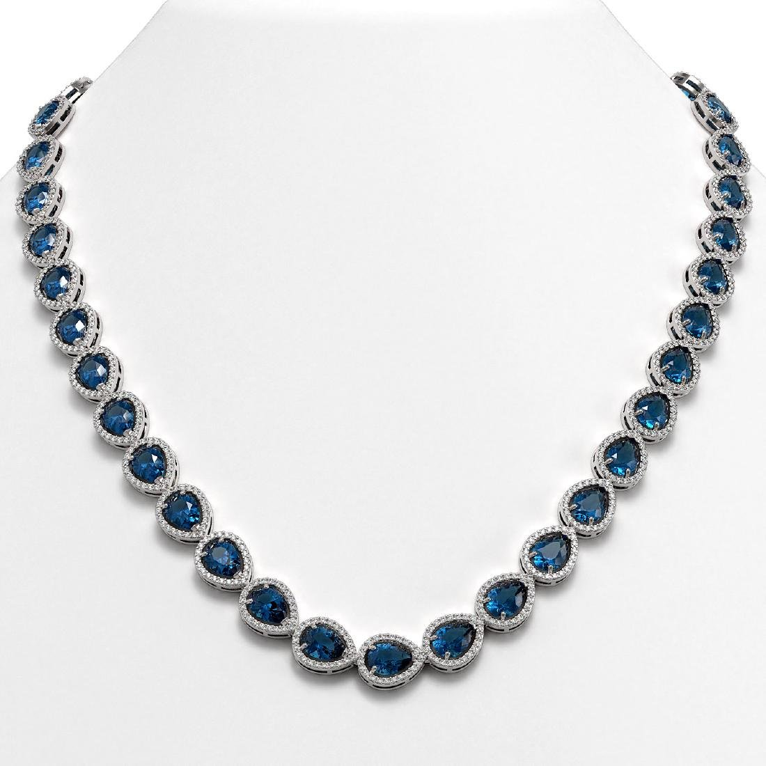 35.13 CTW London Topaz & Diamond Halo Necklace 10K