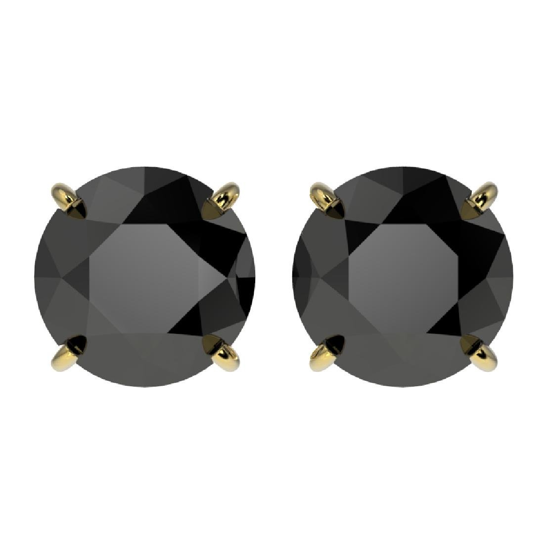 3.18 CTW Fancy Black VS Diamond Solitaire Stud Earrings