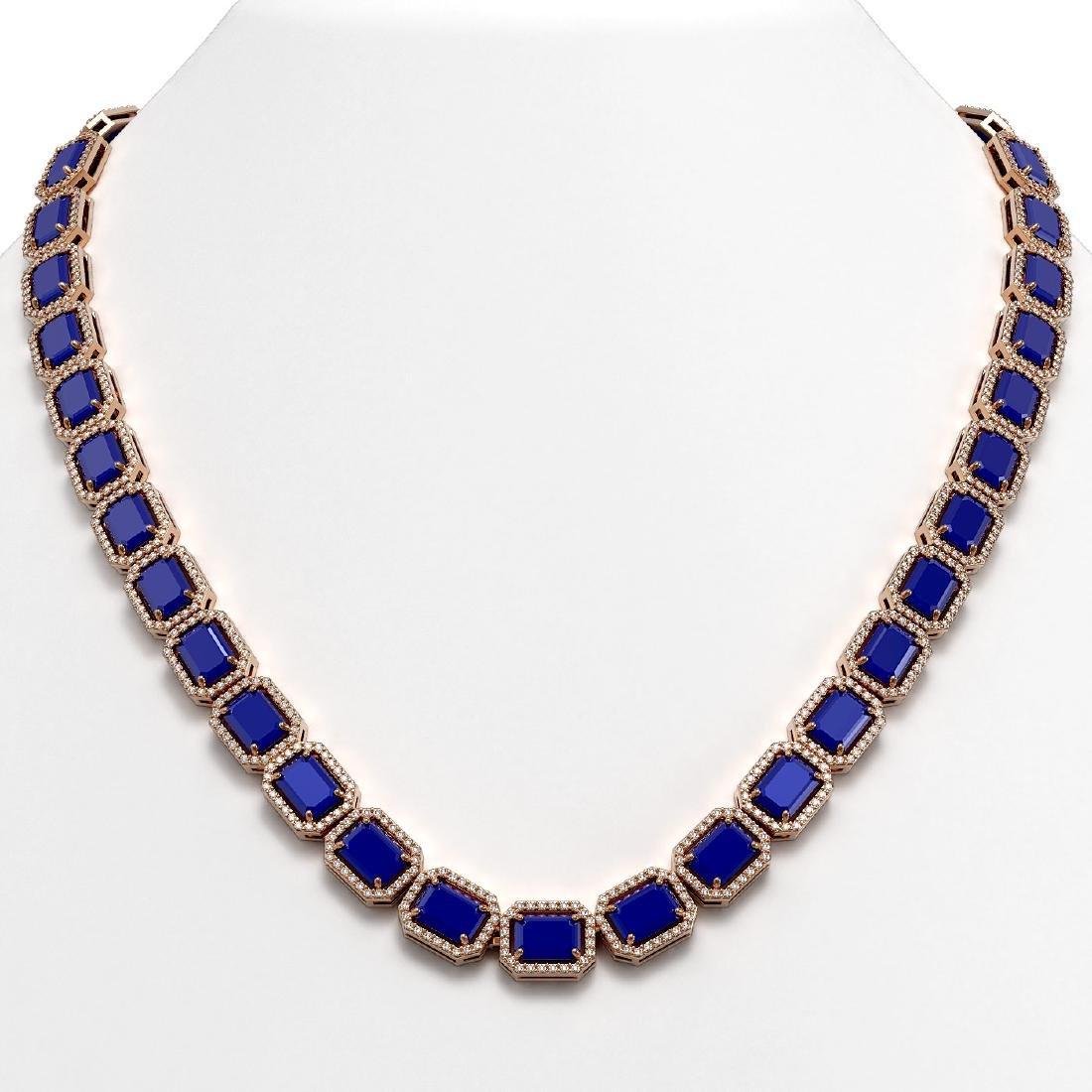 58.59 CTW Sapphire & Diamond Halo Necklace 10K Rose