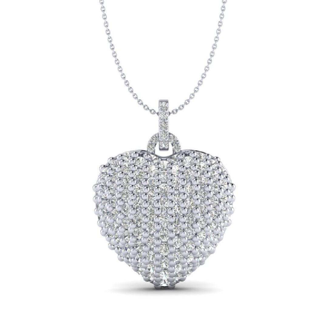 3 CTW Micro Pave VS/SI Diamond Designer Heart Necklace