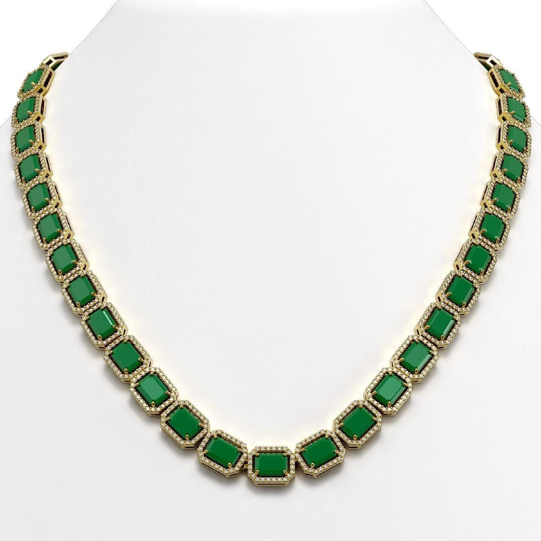 58.59 CTW Emerald & Diamond Halo Necklace 10K Yellow