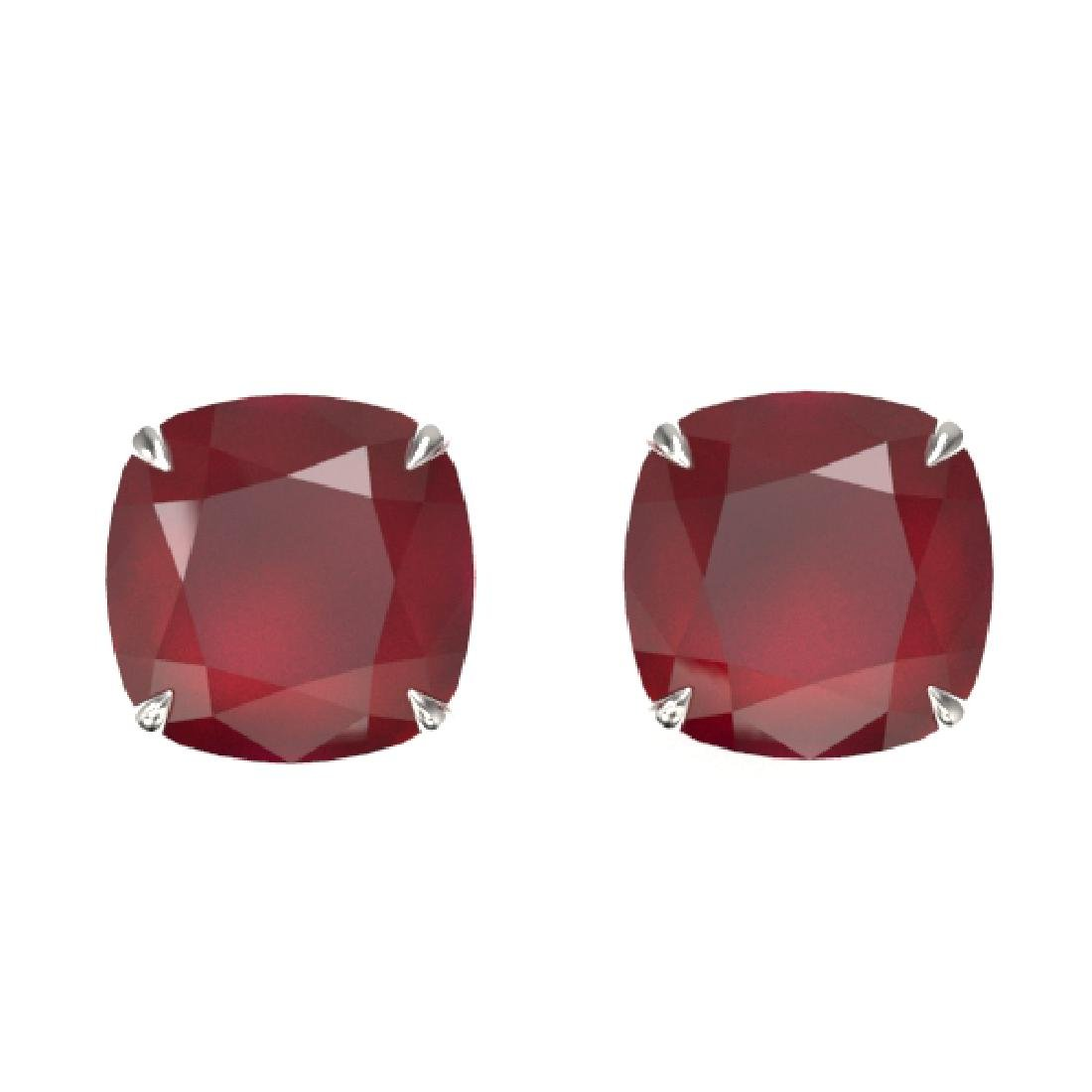 12 CTW Cushion Cut Ruby Designer Solitaire Stud