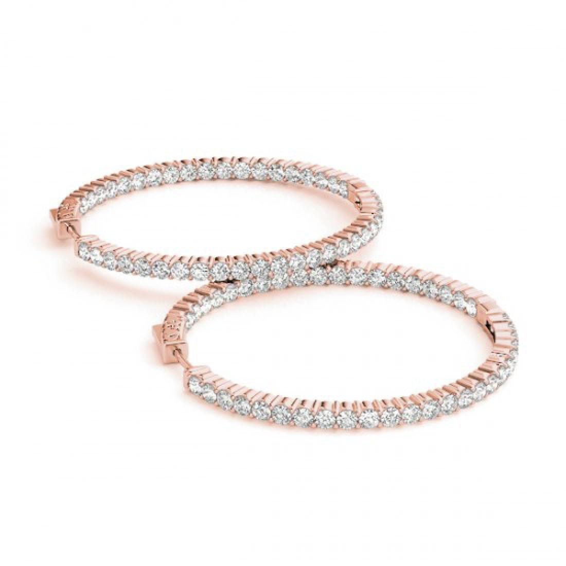 2 CTW Diamond VS/SI Certified 22 Mm Hoop Earrings 14K