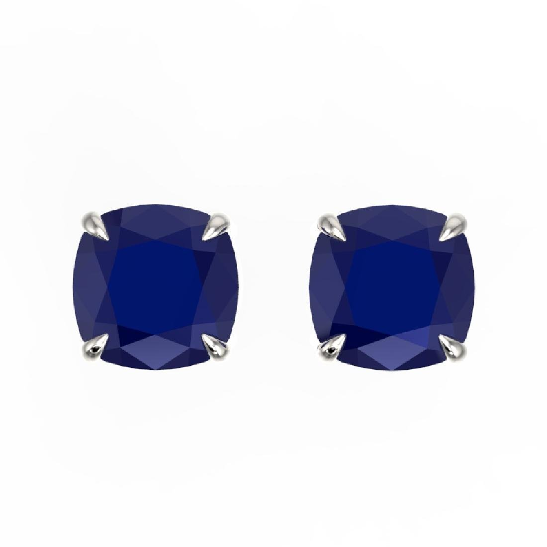 4 CTW Cushion Cut Sapphire Designer Solitaire Stud