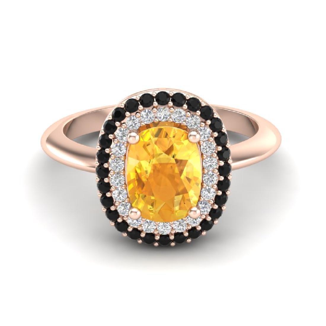 2.50 CTW Citrine With Black & Micro VS/SI Diamond Ring
