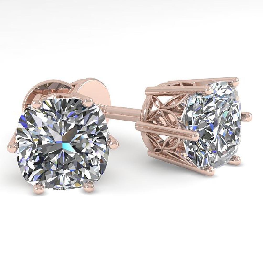 1.0 CTW VS/SI Cut Cushion Diamond Stud Art Deco