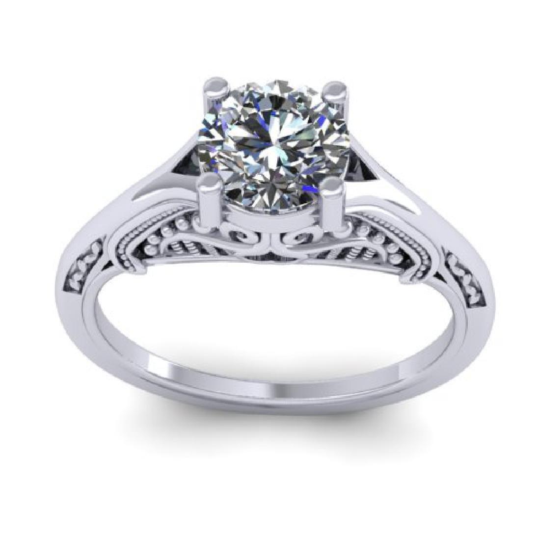 1 CTW Solitaire Certified VS/SI Diamond Ring 18K White - 3